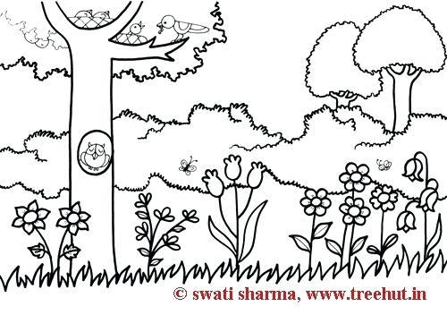 500x352 Garden Coloring Garden Coloring Page Beautiful Garden Coloring