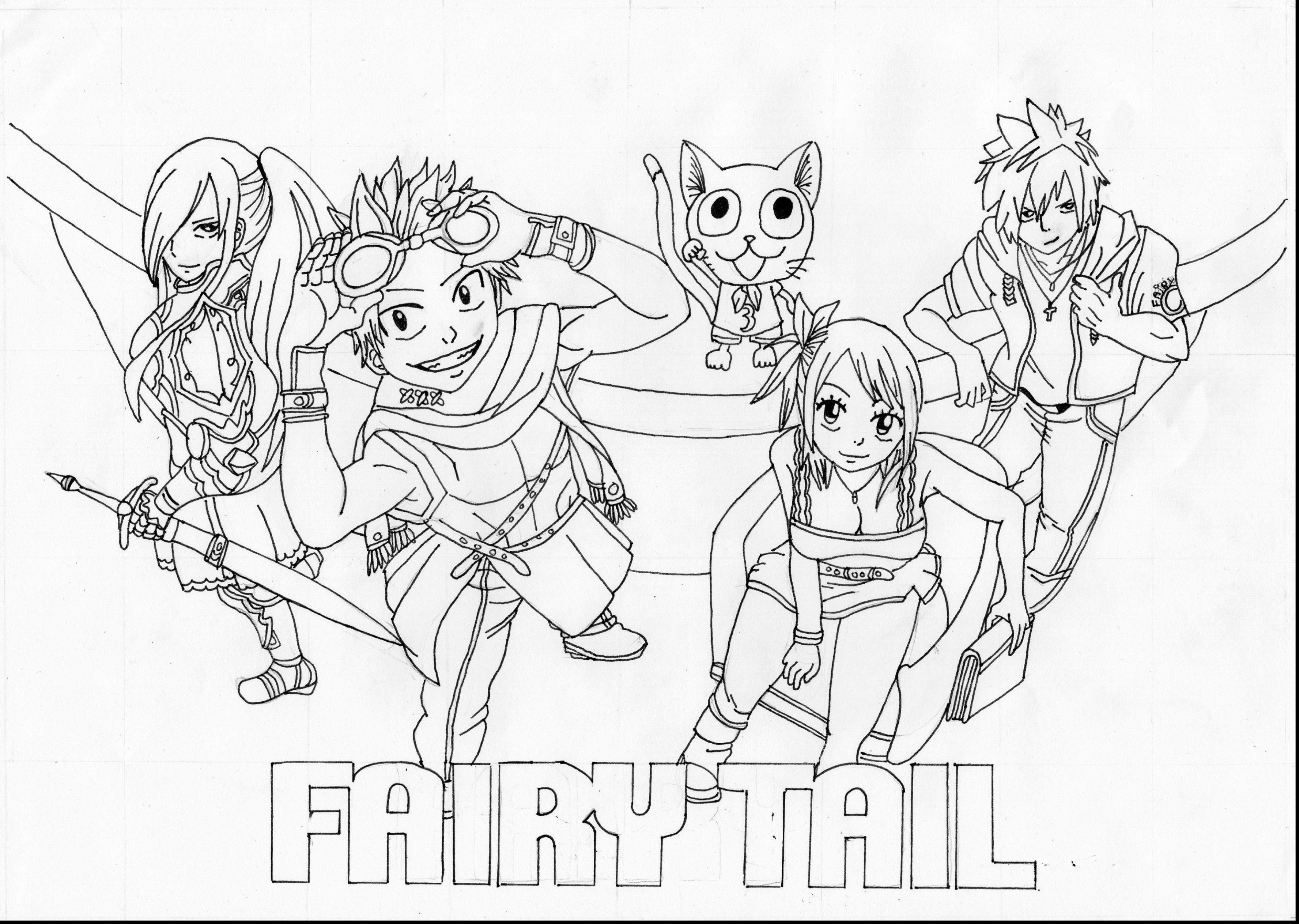 3774x2685 Fairy Tail Coloring Pages High Definition