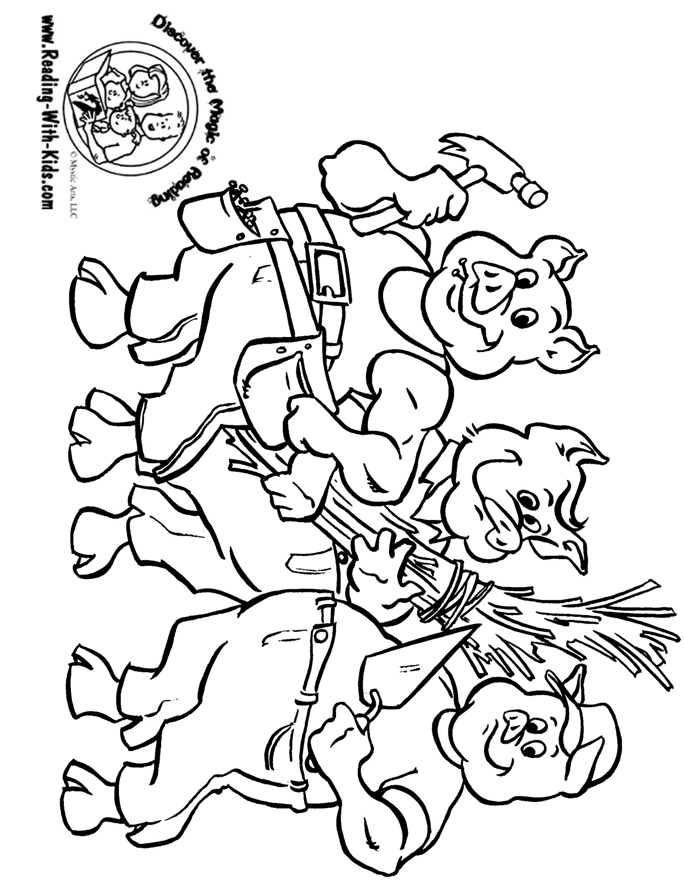 1350x1758 Three Little Pigs Fairy Tale Coloring Page Fairy Tail Coloring