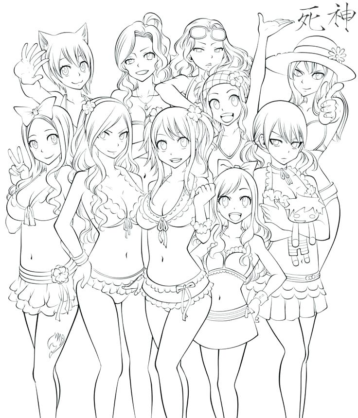736x860 Fairy Tail Color Pages Fairy Tail Coloring Pages Happy All Female