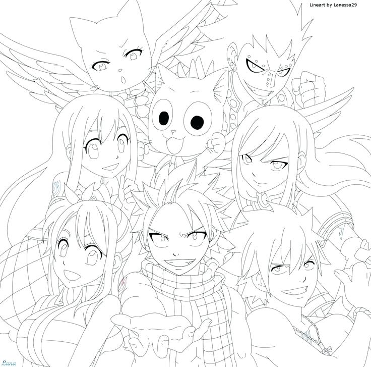 736x727 Anime Color Pages Popular Fairy Tail Coloring Pages Anime Coloring