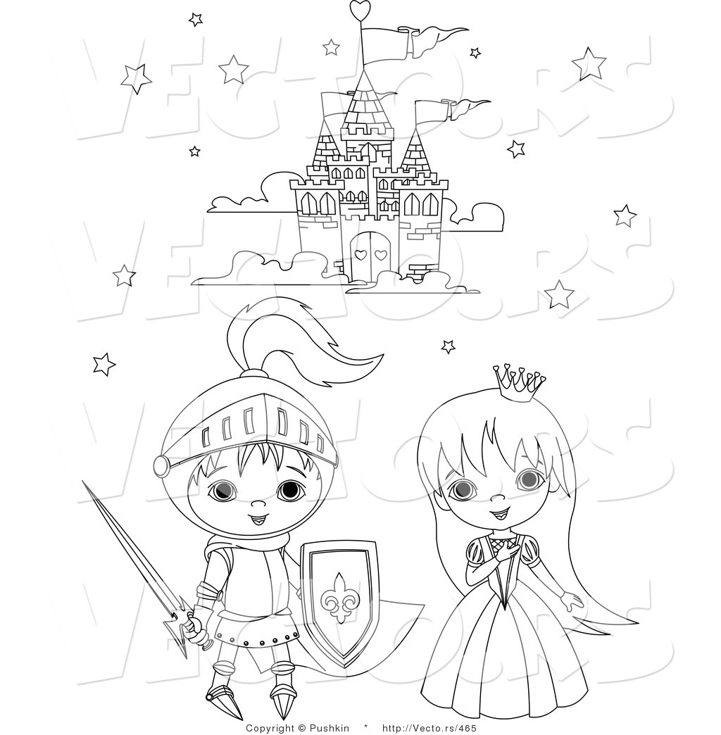 1024x1044 Vector Of A Knight And Princess Kids Beside A Castle