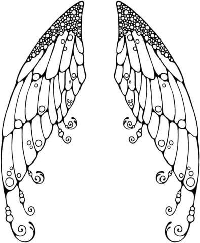 395x480 Double Fairy Wings Coloring Page