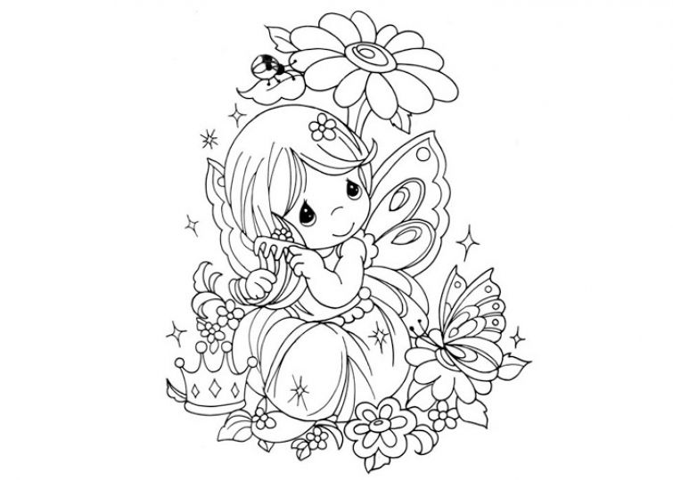 755x539 Little Fairy Girl With Butterfly Wings Coloring Pages Fantasy
