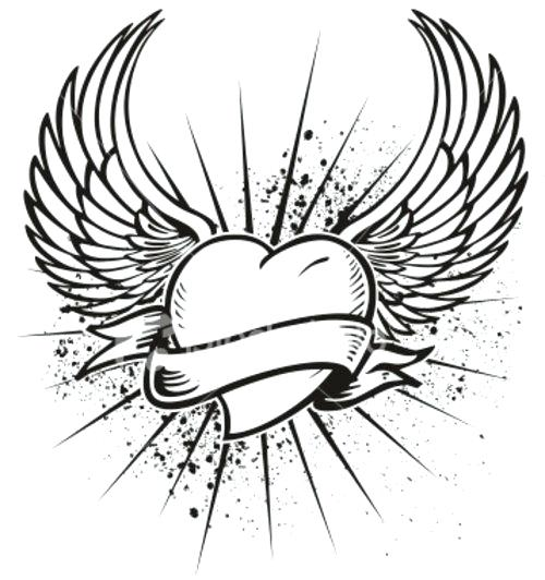 500x532 Coloring Pages Fairy Wings Of Hearts With And Roses Page Regard