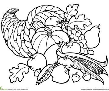 360x300 Printable Fall Coloring Pages Horn, Thanksgiving And Adult Coloring
