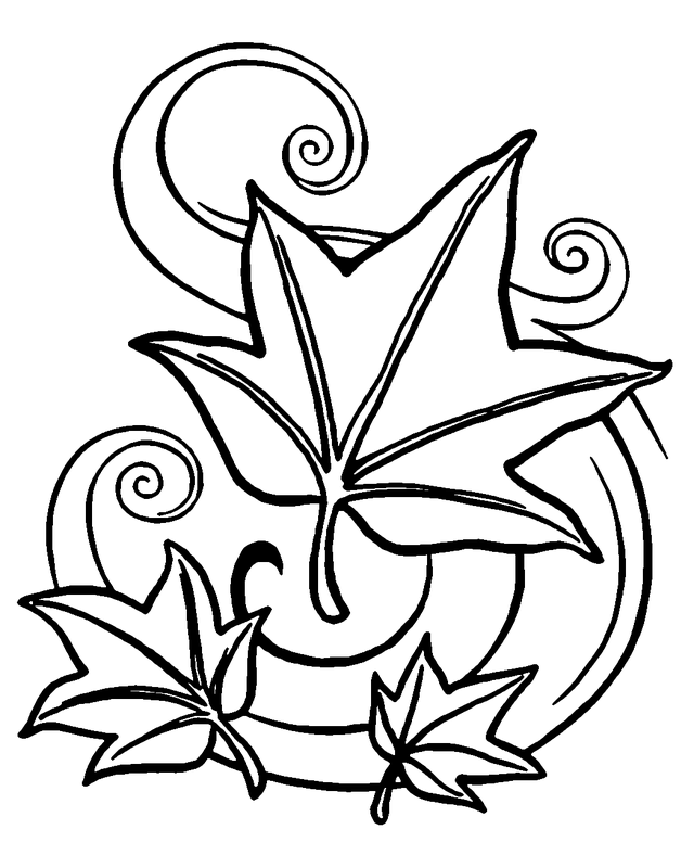 640x800 Autumn Leaves Coloring Pages