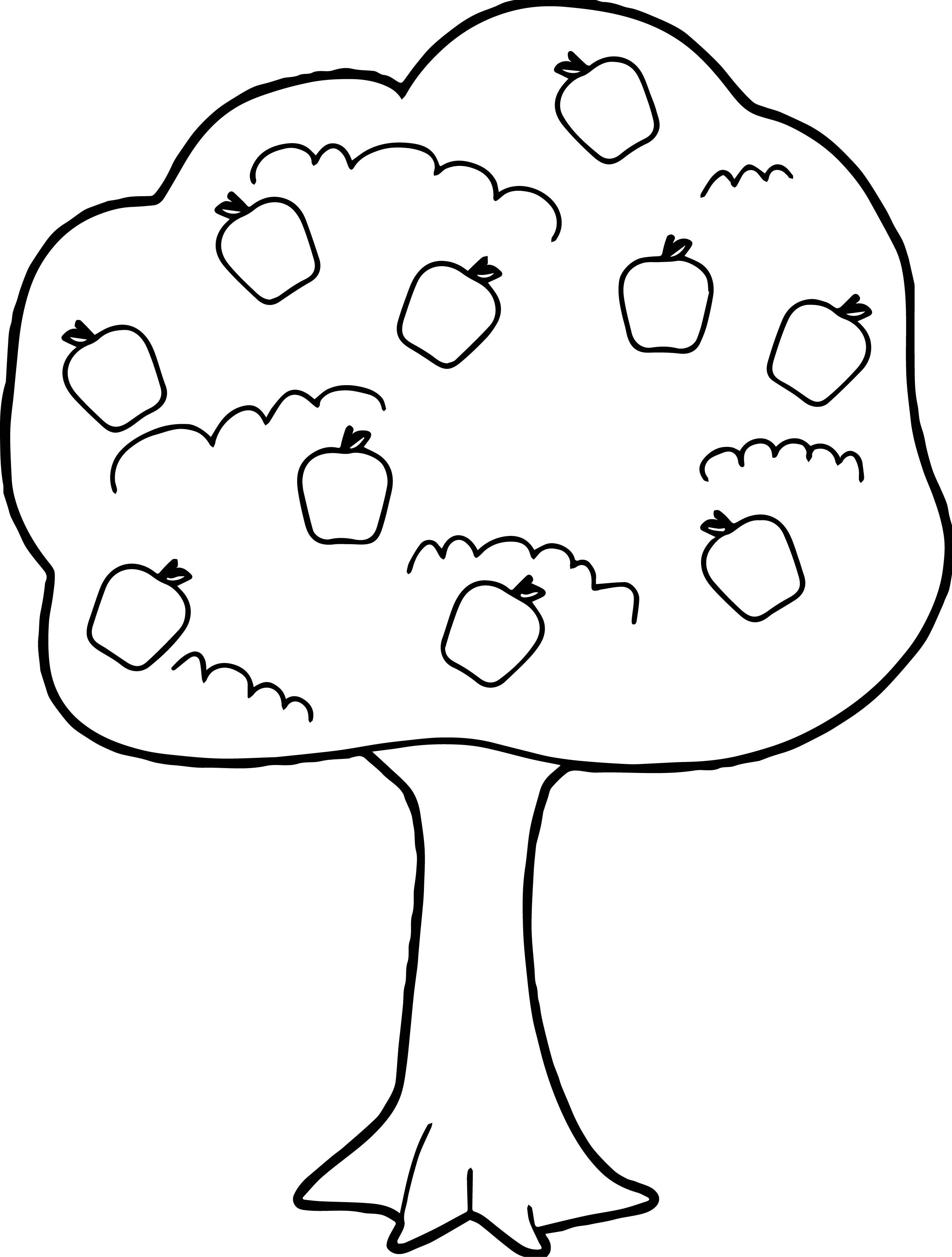2515x3319 Marvelous Fruit Tree Coloring Pages Funny To Print Of Apple