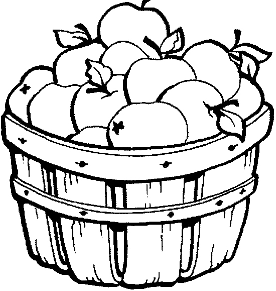 550x579 Apple Basket Coloring Pages Apple Basket Coloring Pages Autumn