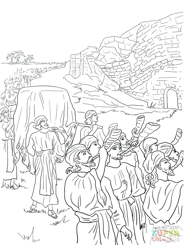 736x981 Joshua Jericho Coloring Page And Coloring Pages And The Fall