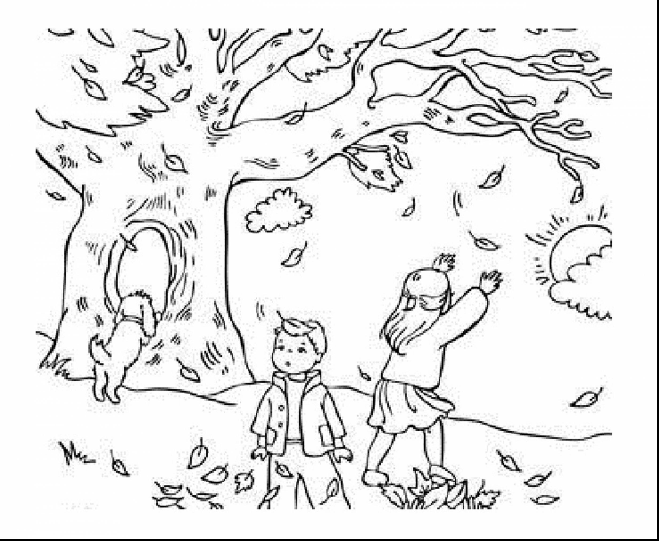 2805x2305 Incredible Fall Landscape Coloring Page With Pages For Adults