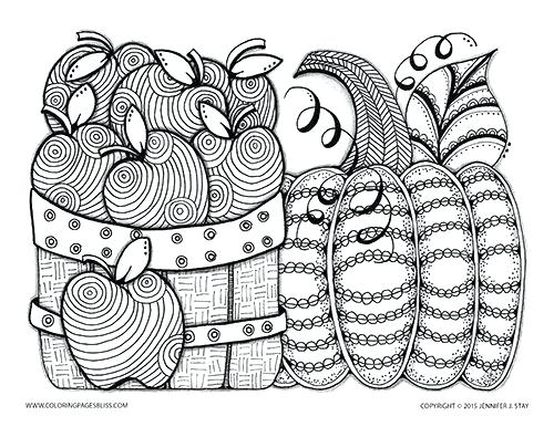 500x386 Autumn Coloring Pages Apples And Pumpkin Fall Coloring Sheet