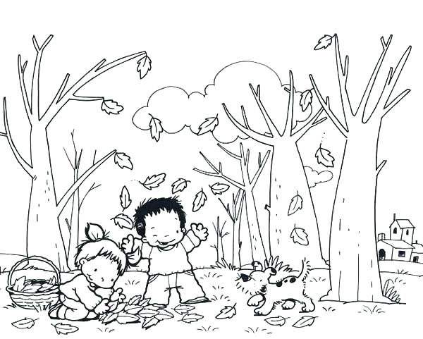 600x481 Fall Festival Coloring Pages Kids And Dog Collecting Autumn Leaf