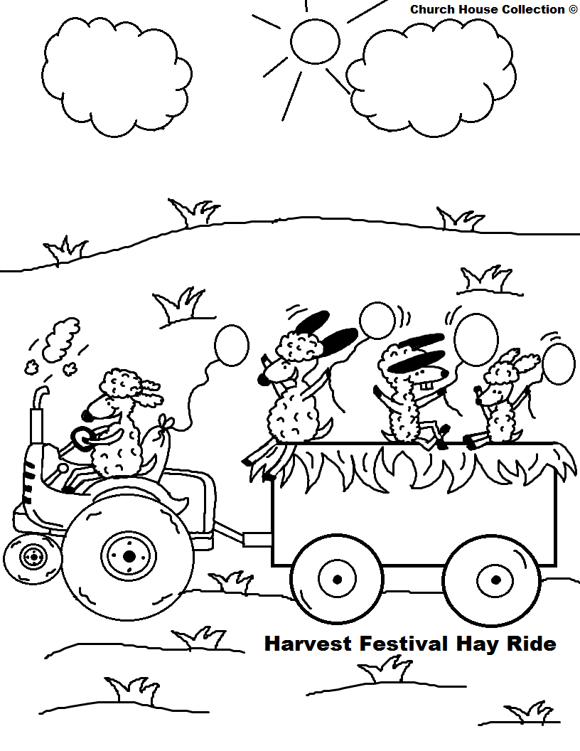 816x1056 Fall Festival Hay Ride Harvest Festival Hay Ride Coloring Page Png