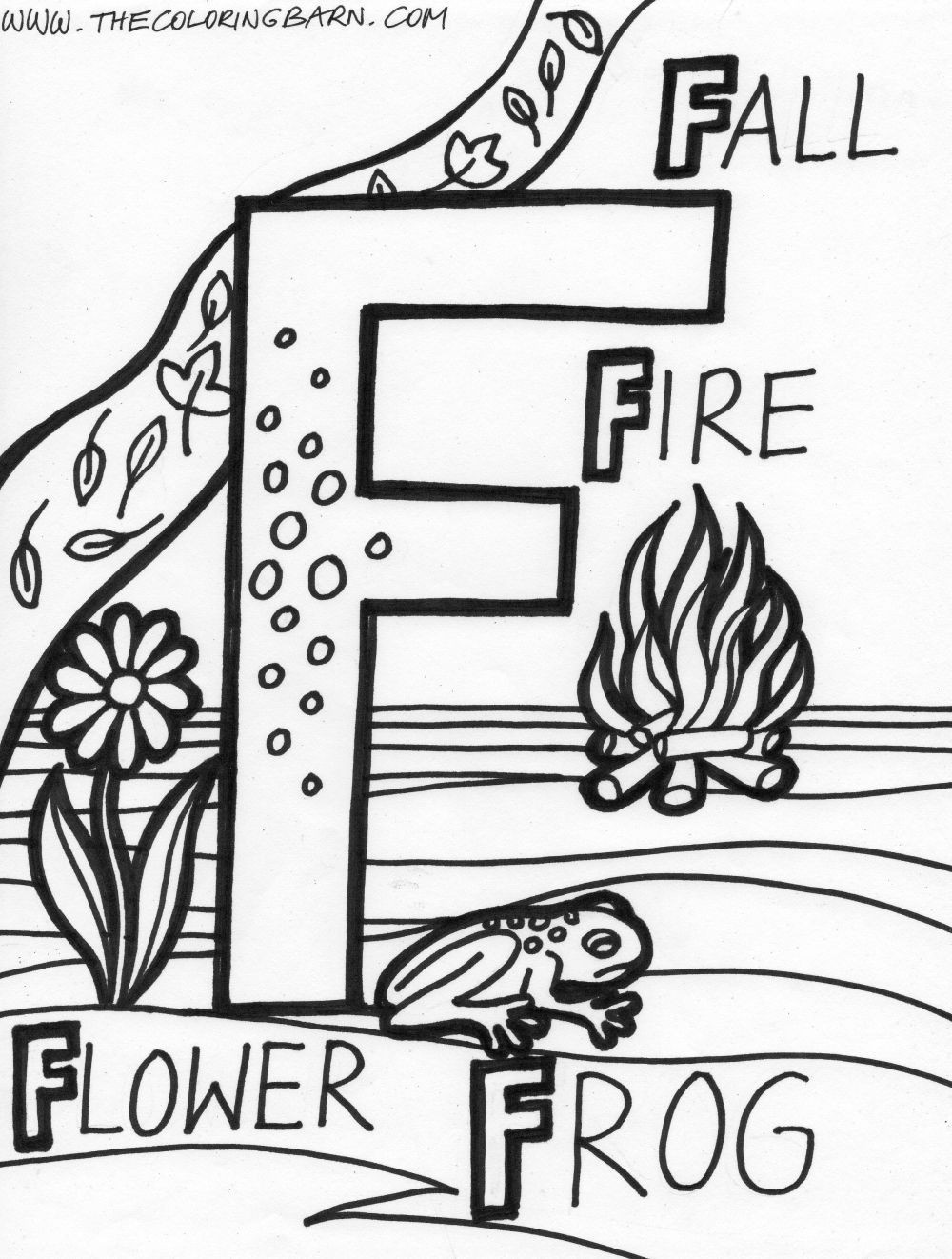 1000x1322 F For Fall Fire Flower Frog Alphabet Adorable Coloring
