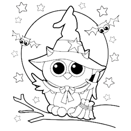 500x500 Halloween Owl Witch Coloring Page Kids Coloring Pages