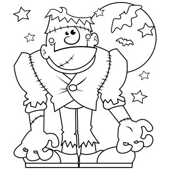 345x345 Monster Halloween Coloring Page English Grammar Clues