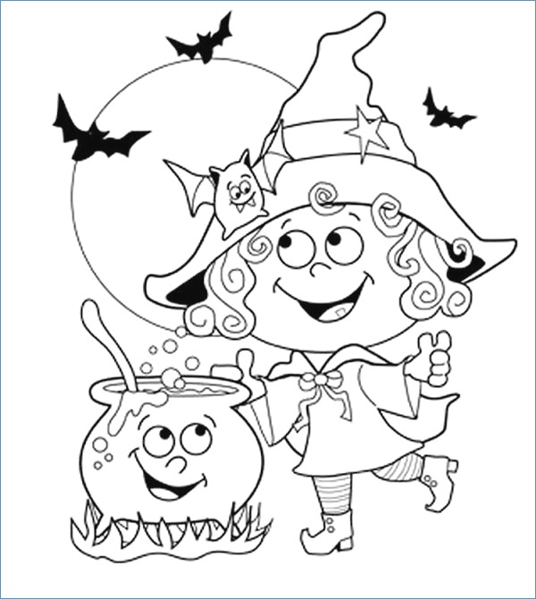 600x670 Spider Pumpkin Simple Halloween Coloring Pages