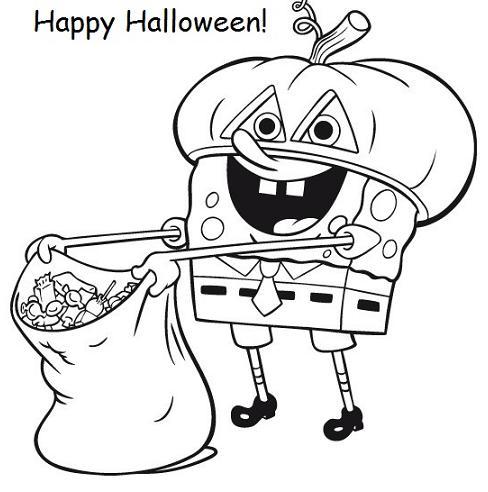 488x492 Spongebob Halloween Coloring Pages