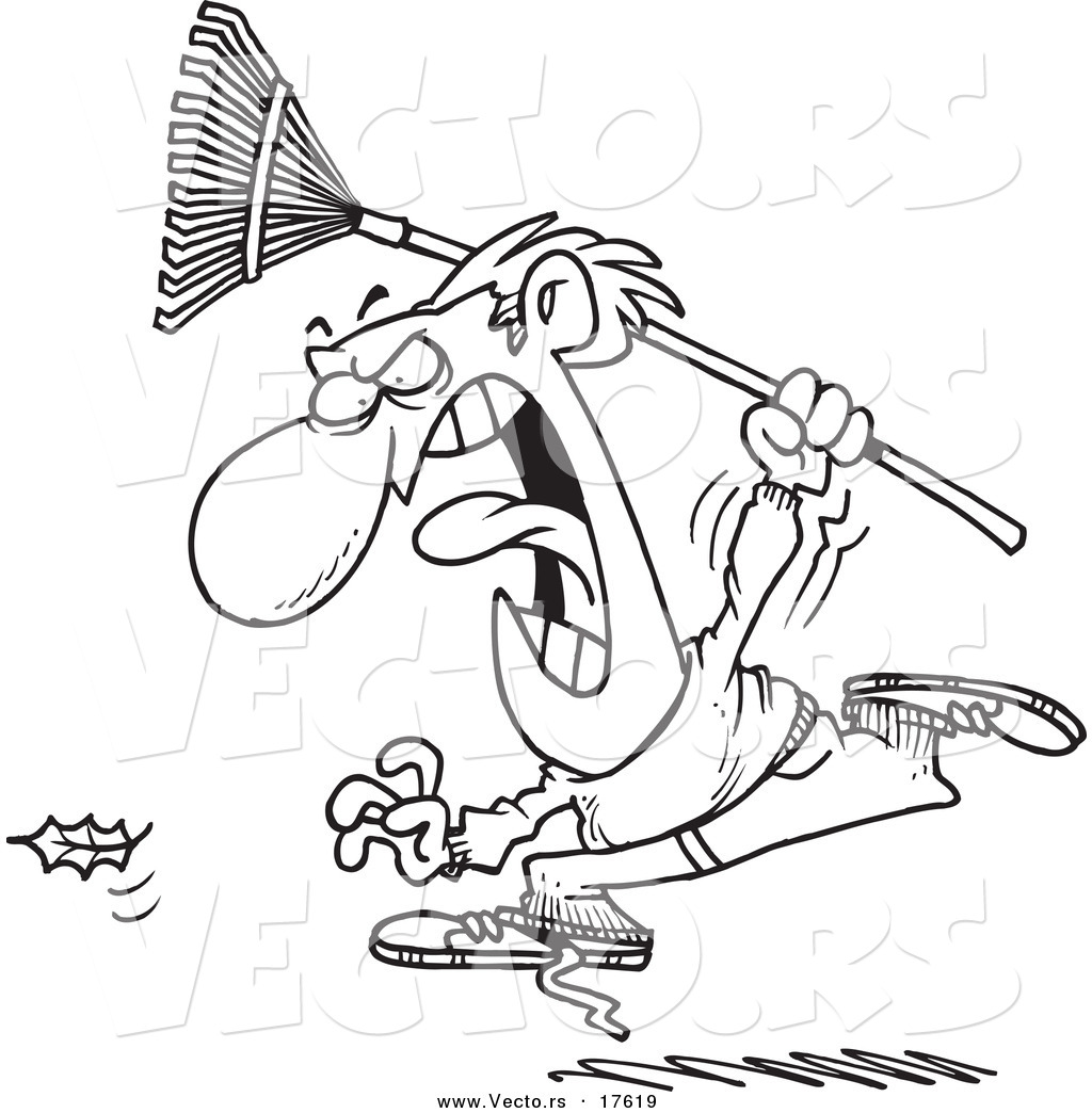 1024x1044 Vector Of A Cartoon Angry Man Chasing A Falling Leaf