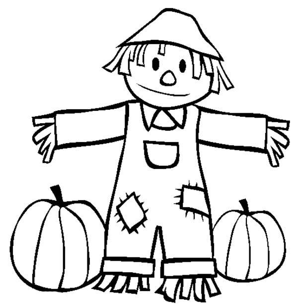 600x612 Autumn Scarecrow To Keep Pumpkin Safe Coloring Pages Batch Coloring