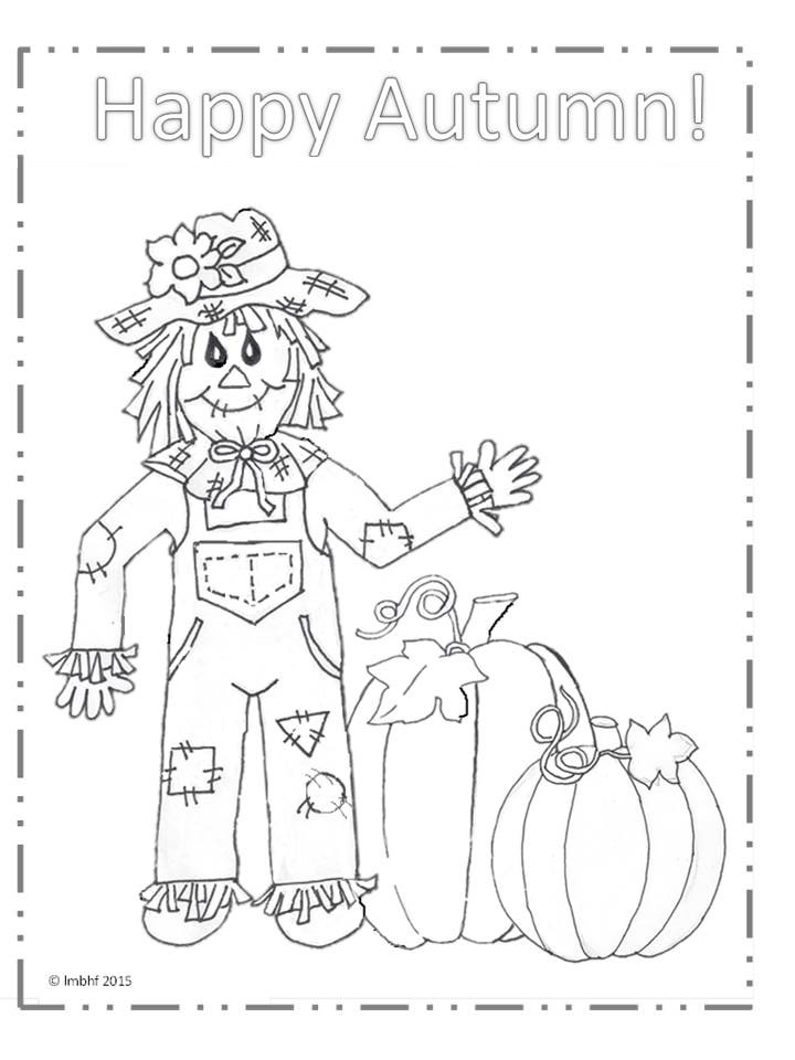 720x960 Happy Autumn Scarecrow Coloring Page Love My Big Happy Family