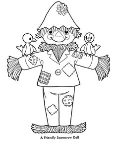 236x288 Cute Scarecrow Coloring Page Scarecrows, Worksheets And Thanksgiving