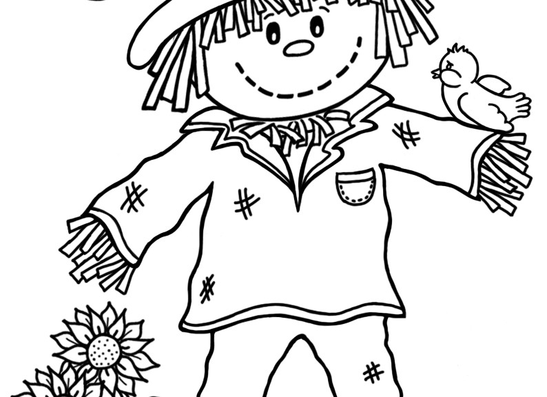 794x576 Scarecrow Pictures To Colour Great Scarecrow Coloring Pages