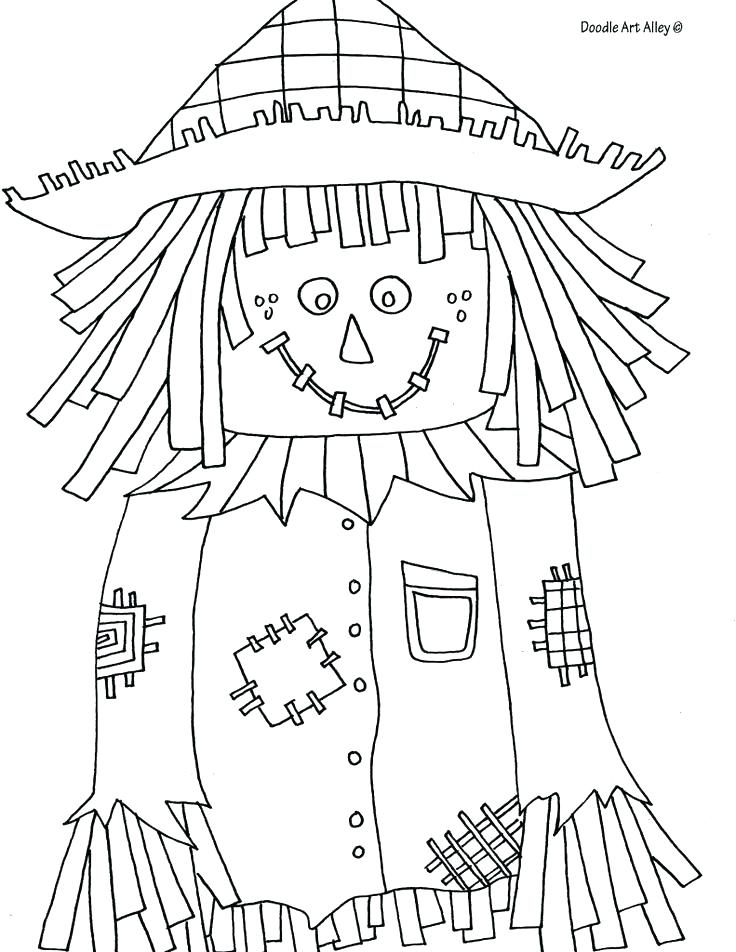736x952 Fall Scarecrow Coloring Pages