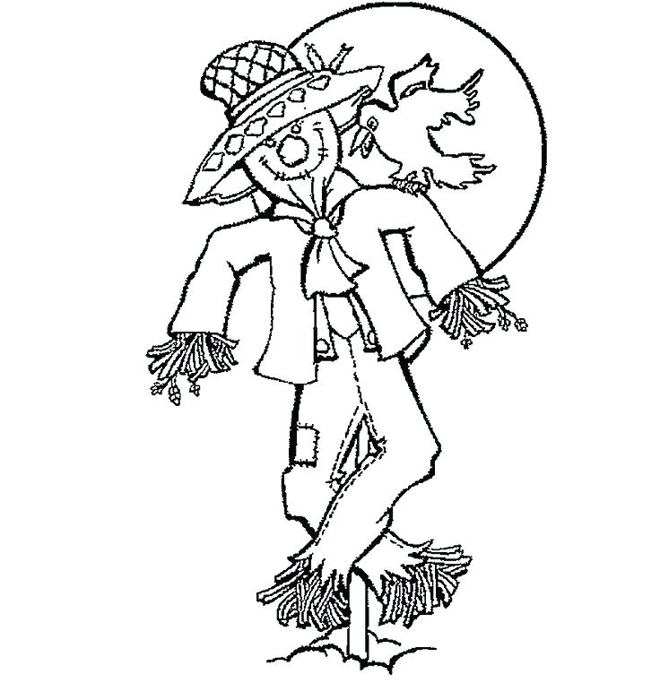 736x762 Fall Scarecrow Coloring Pages