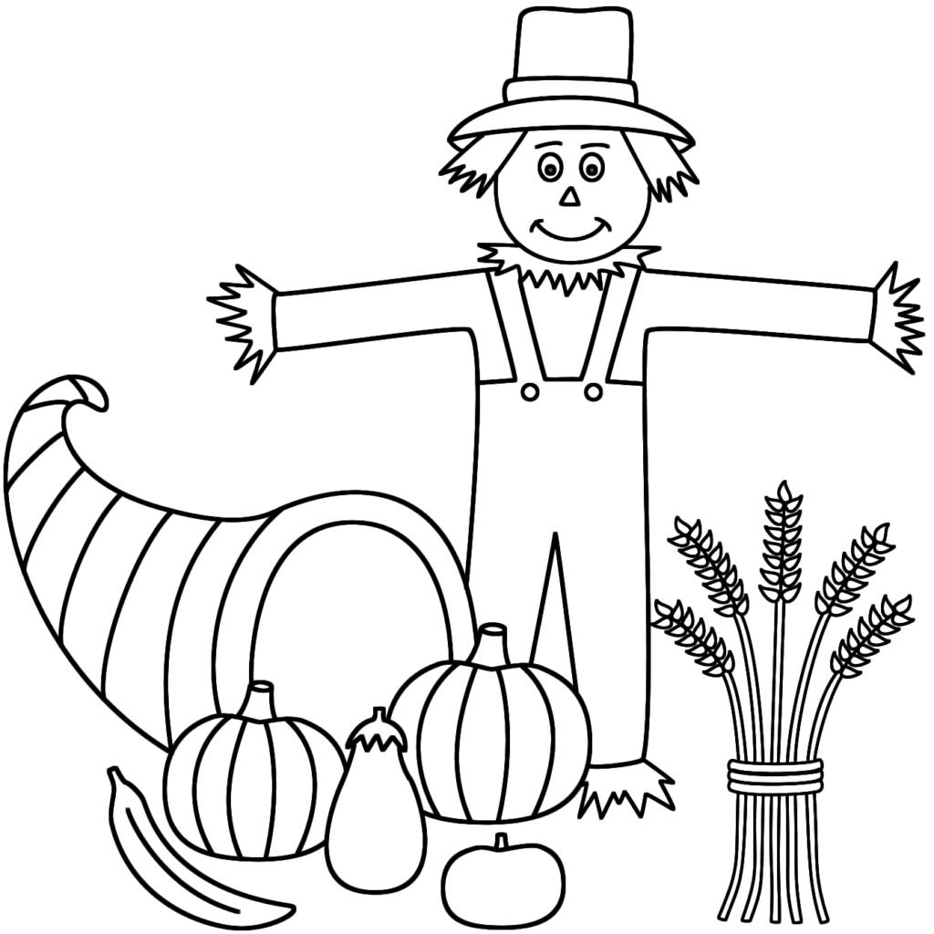 1024x1024 Fall Scarecrow Coloring Pages Color Bros At Page