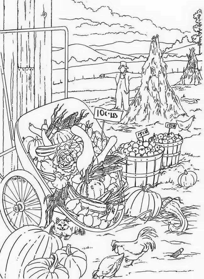 Fall Scene Coloring Pages