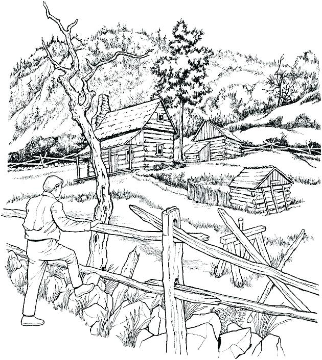 630x706 Nature Coloring Page Kid Coloring Sheet Landscape Fall Scenery