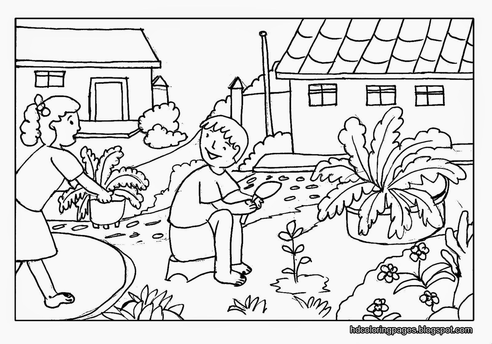 1600x1119 Scenery Coloring Pages Nature Colouring For Kids Farm Inside New