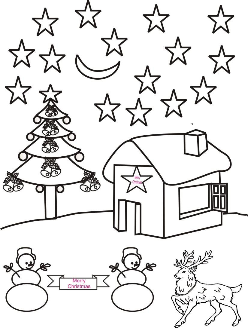 826x1091 Christmas Night Scenery Coloring Page Fine Pages Acpra