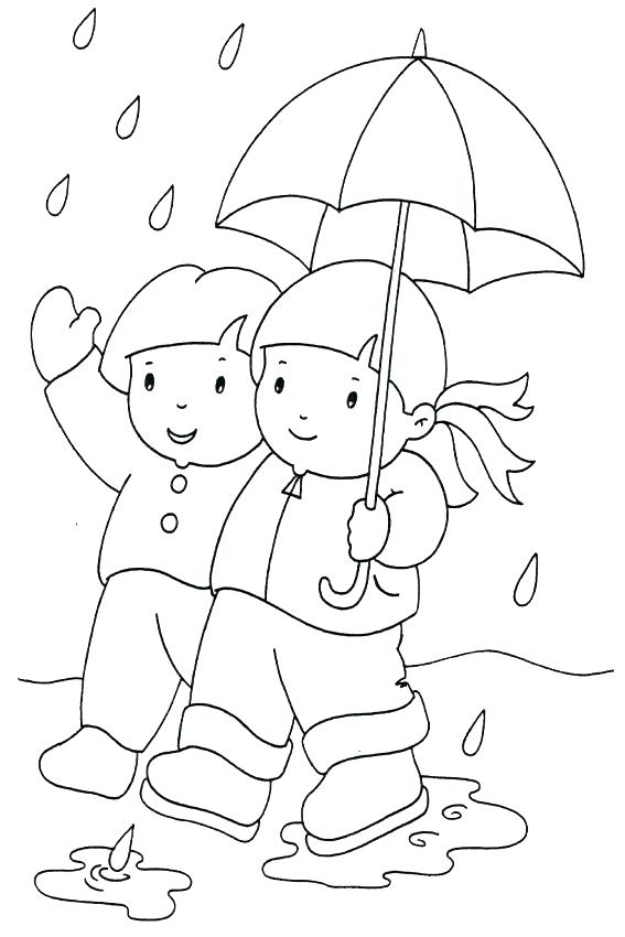 567x850 Coloring Pages Autumn Coloring Pages Fall Season Kids In The Rain