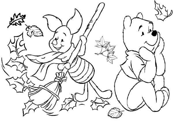 600x429 Winnie The Pooh Fall Coloring Pages