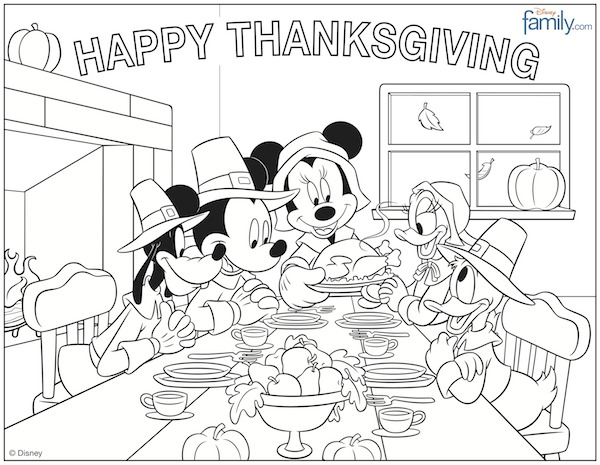 600x465 Disney Princess Fall Thanksgiving Coloring Page