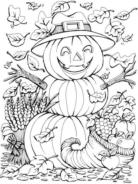 480x640 Autumn Scenes Pumpkins Coloring Pages For Adult Halloween