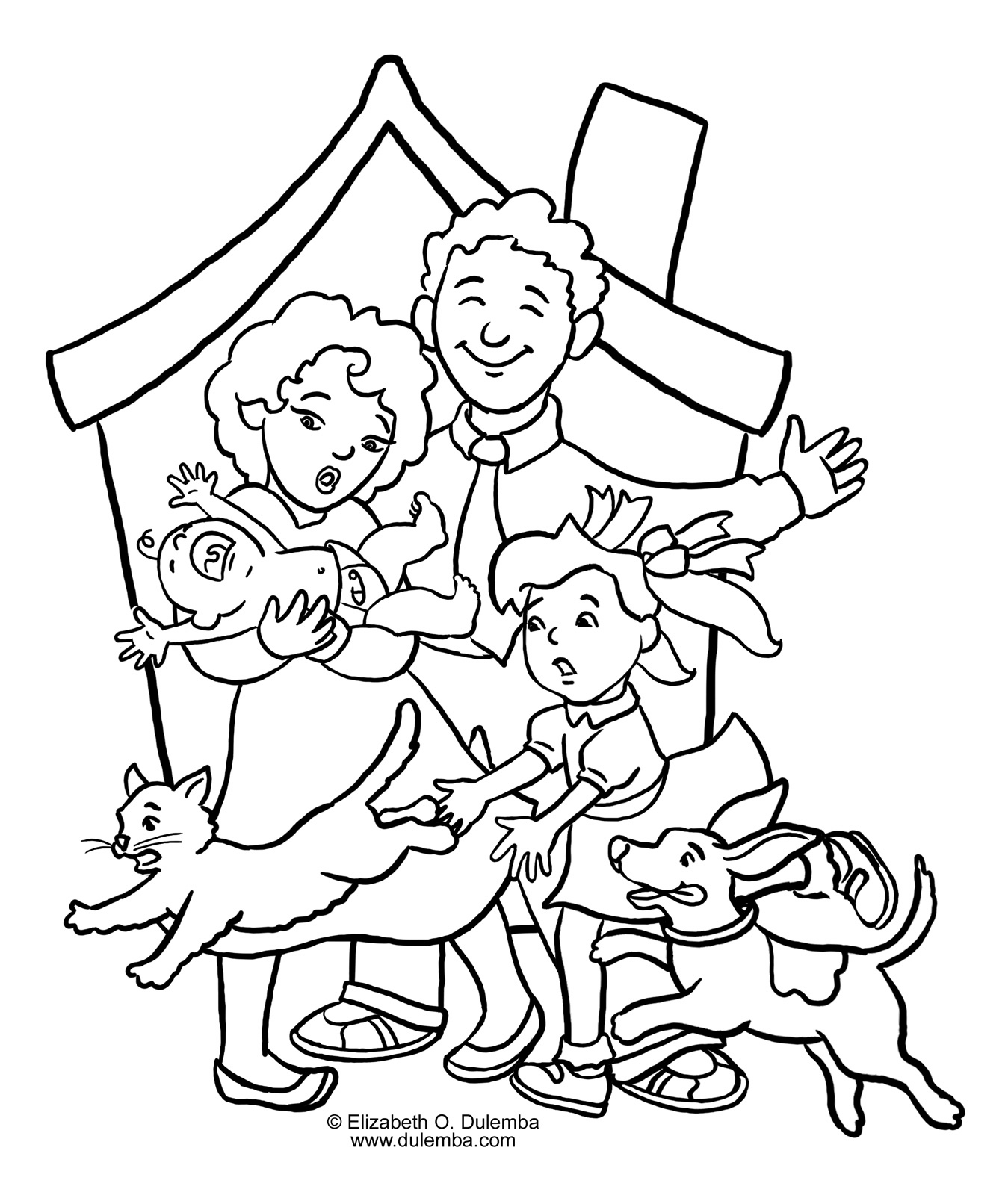 1349x1600 Family Coloring Pages