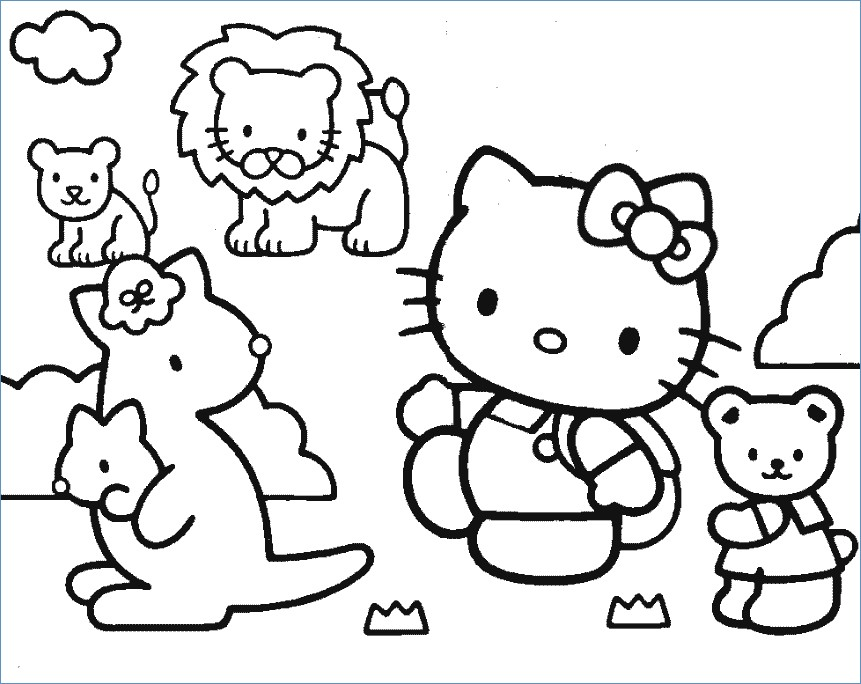 861x684 Hello Kitty And Friends Bicycle Coloring Pages