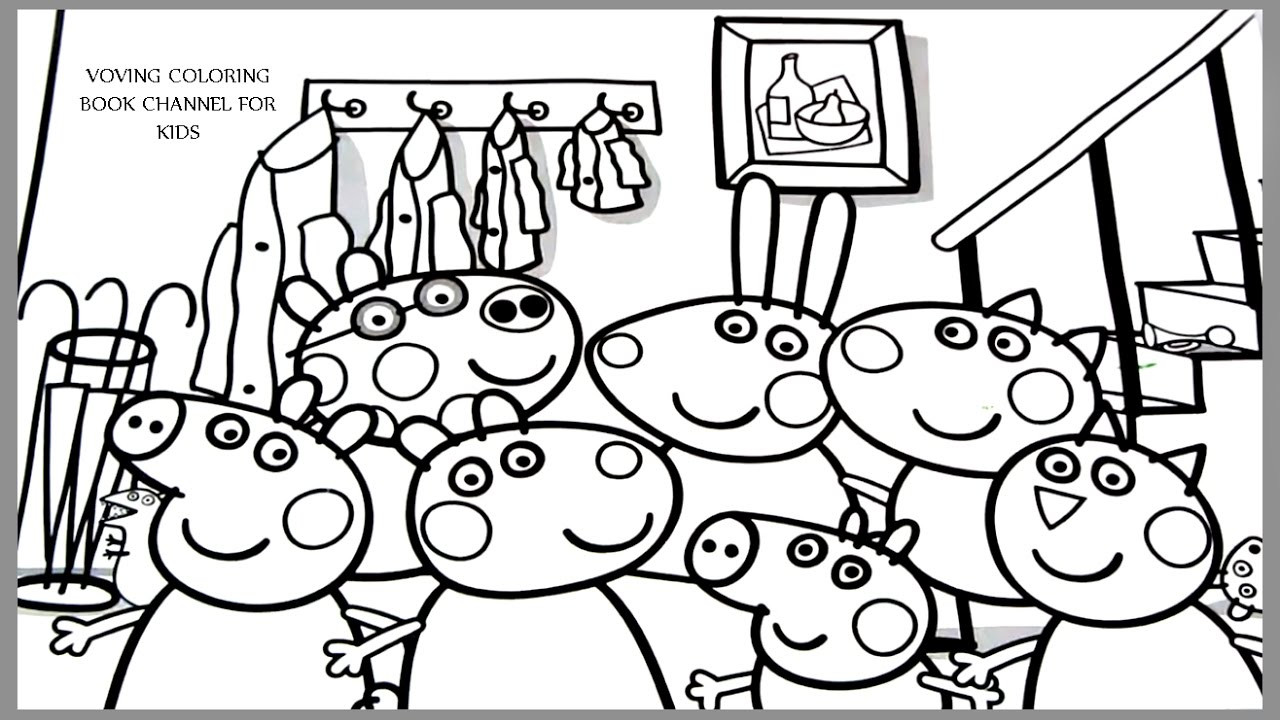 1280x720 Peppa Pigs Family Coloring Page Incredible Pig And Friends Pages
