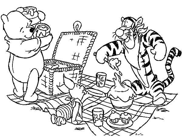 600x450 Winnie The Pooh And Friends Family Picnic Coloring Pages