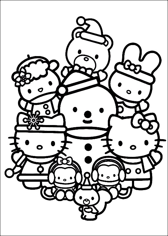 550x770 Happy Family Of Hello Kitty Celebrating Christmas Coloring Pages