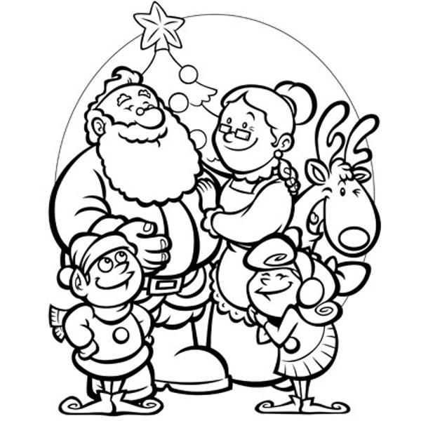 600x600 Santa Family Selebrating Christmas Coloring Page Santa Family