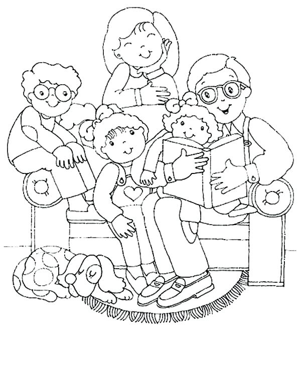600x776 Family Coloring Pages Joint Family Gather In Living Room Coloring