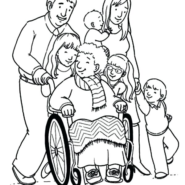 600x600 Family Coloring Pages Grandmother And Her Big Family Coloring