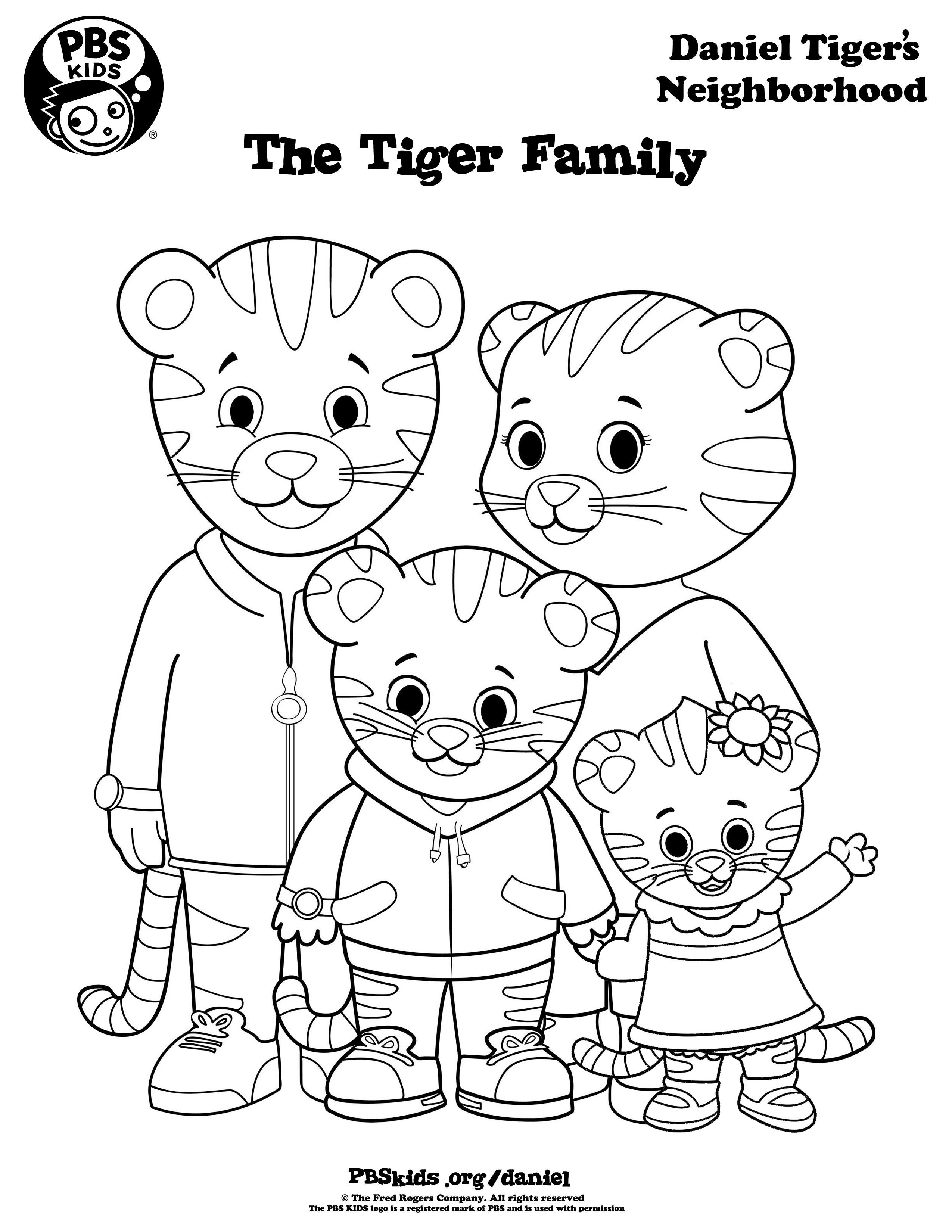 2550x3300 Daniel Tiger Family Coloring Pages Free Printable Tigers