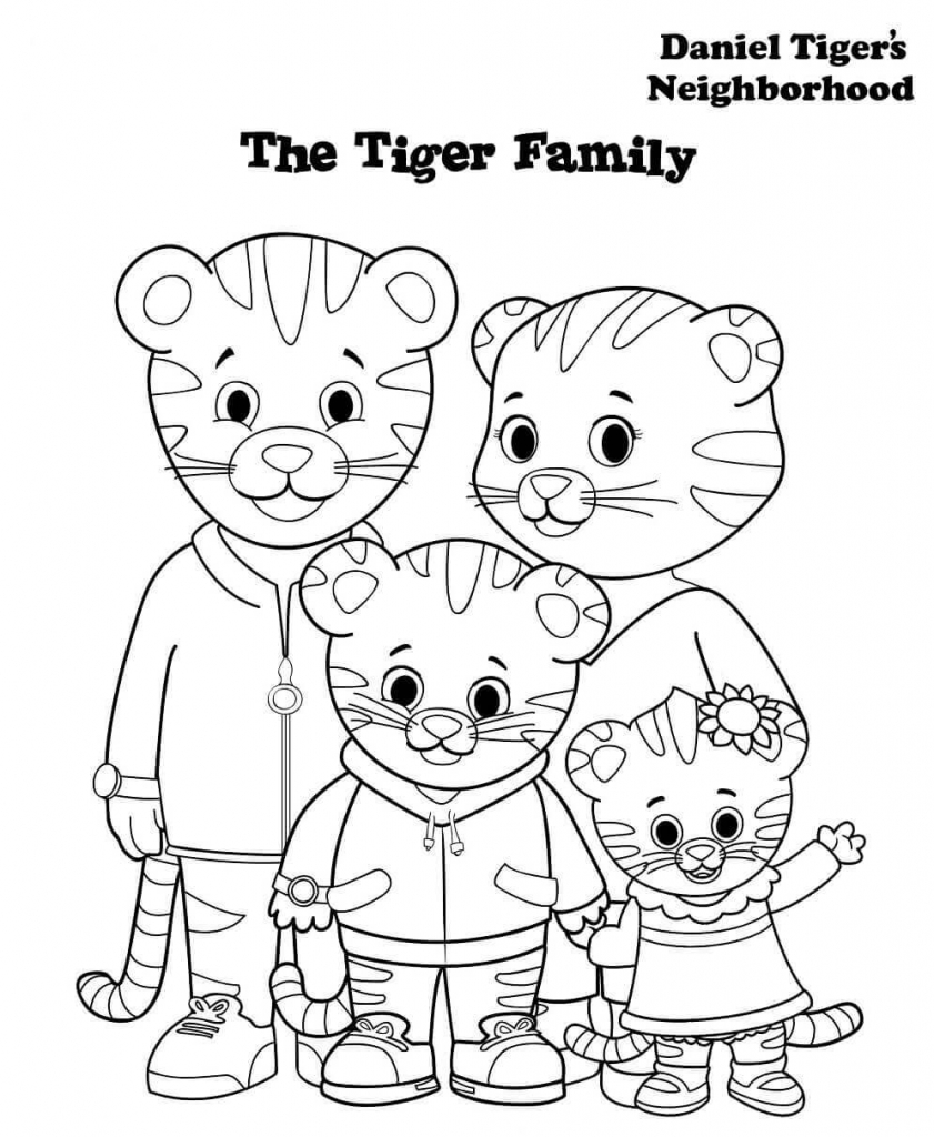 841x1024 Daniel Tiger Family Coloring Pages Free Printable Tigers