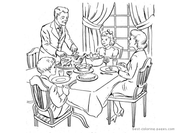 677x508 Family Eating Dinner Coloring Page